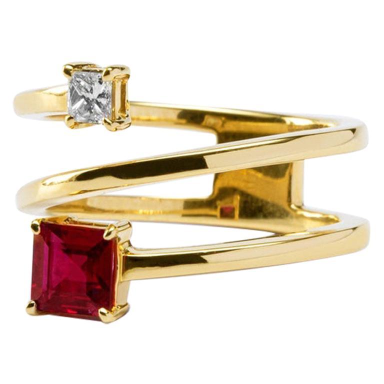 Jona Ruby White Diamond 18 Karat Yellow Gold Crossover Ring Band