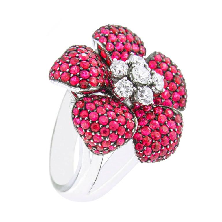 Jona Ruby White Diamond 18 Karat White Gold Flower Cocktail Ring