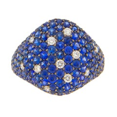 Jona Blue Sapphire White Diamond 18 Karat White Gold Signet Ring