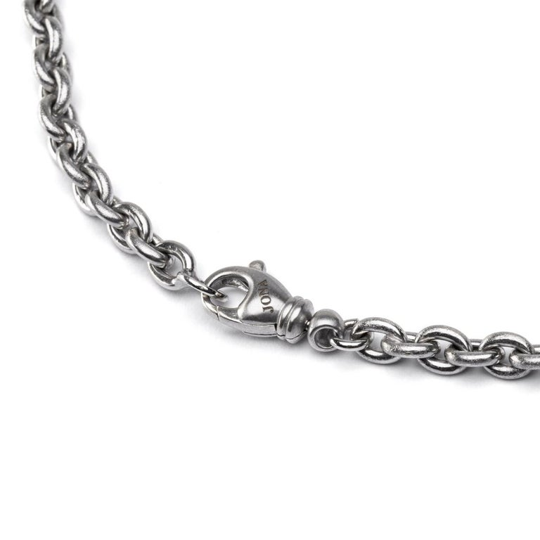 Women's Jona South Sea Light Grey Baroque Pearl 18 Karat White Satin Gold Chain Necklace For Sale