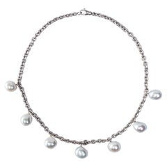 Jona South Sea Light Grey Baroque Pearl 18 Karat White Satin Gold Chain Necklace