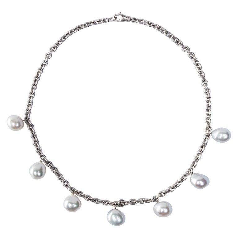 Jona South Sea Light Grey Baroque Pearl 18 Karat White Satin Gold Chain Necklace For Sale