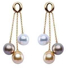 Jona South Sea Pearl 18 Karat Yellow Gold Dangle Earrings
