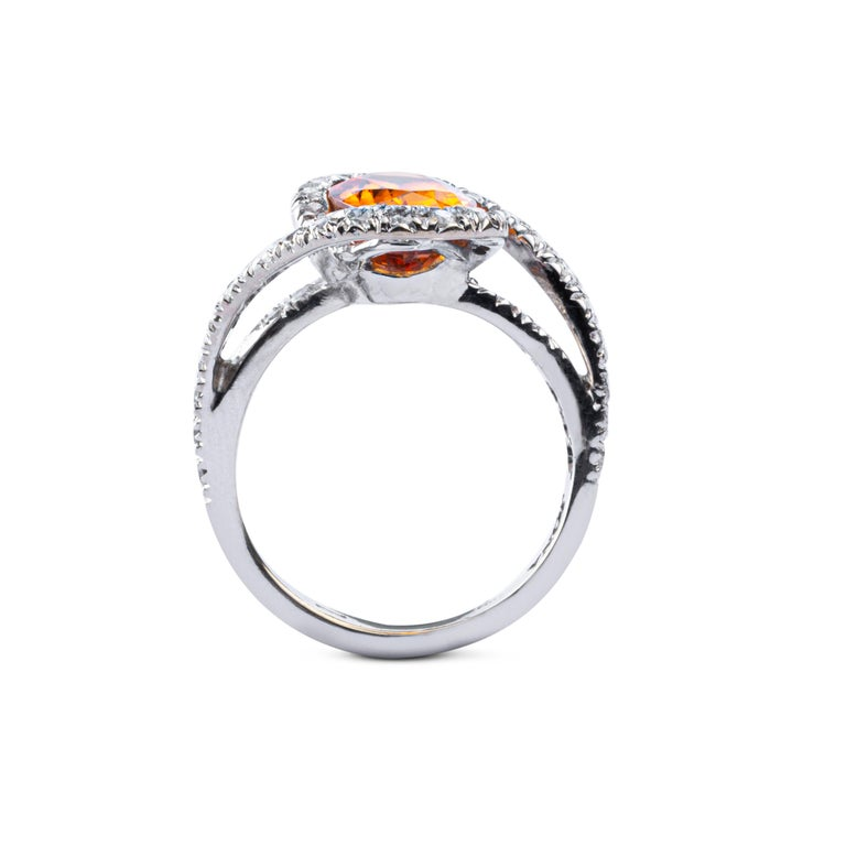 Jona Spessartite Garnet White Diamond 18 Karat White Gold Solitaire Ring In New Condition For Sale In Torino, IT