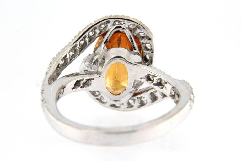 Jona Spessartite Garnet White Diamond 18 Karat White Gold Solitaire Ring For Sale 2