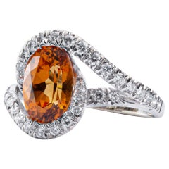 Jona Spessartite Garnet White Diamond 18 Karat White Gold Solitaire Ring