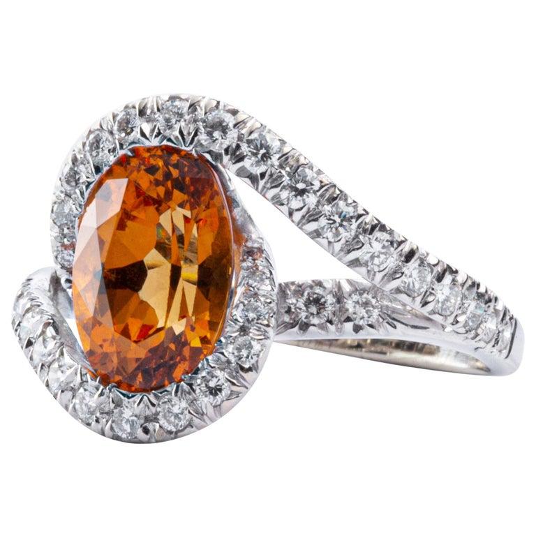 Jona Spessartite Garnet White Diamond 18 Karat White Gold Solitaire Ring For Sale