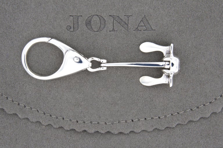 Jona design collection, hand crafted in Italy, rhodium plated Sterling Silver Anchor key holder. Anchor dimensions : L 1.82 in/ 46.37 mm x W 0.87 in/ 22.34 mm x Depth: 0.40 in/ 10.34 mm All Jona jewelry is new and has never been previously owned or