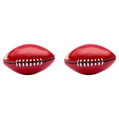 Jona Sterling Silver and Red Enamel Rugby Ball Cufflinks