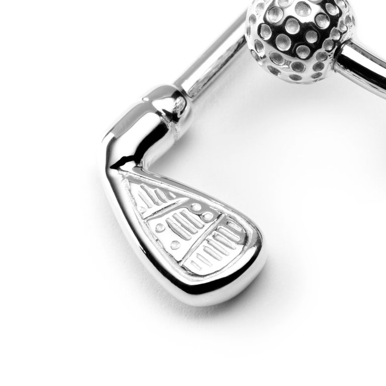Jona design collection, hand crafted in Italy, rhodium plated sterling silver Ball and Golf-Club key holder. Dimensions : L x 2 in/ 50.91 mm x W x 1.12 in/ 28.4 mm. All Jona jewelry is new and has never been previously owned or worn. Each item will