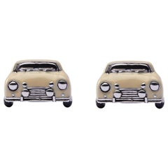 Jona Sterling Silver Beige Enamel Classic Mini Car Cufflinks