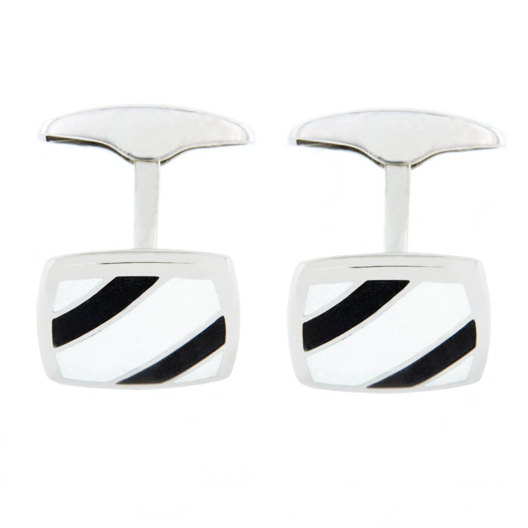 Jona Sterling Silver Black and White Enamel Cufflinks In New Condition For Sale In Torino, IT