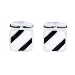 Jona Sterling Silver Black and White Enamel Cufflinks