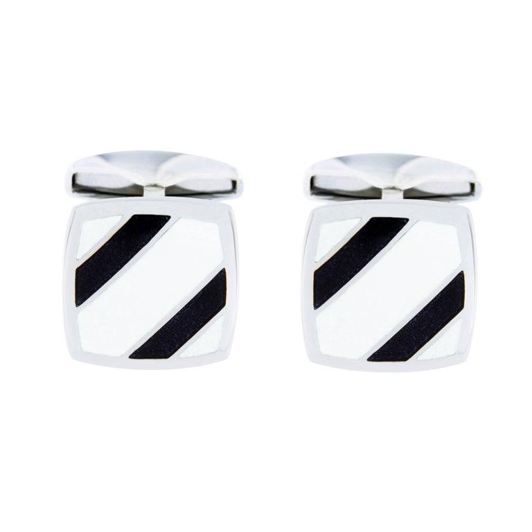 Jona Sterling Silver Black and White Enamel Cufflinks For Sale