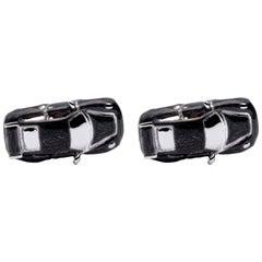 Jona Sterling Silver Black Enamel Porsche Cufflinks