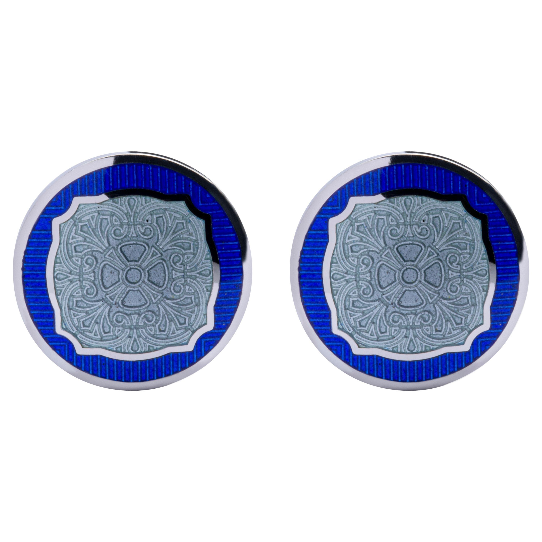 Jona Sterling Silver Blue and Grey Enamel Cufflinks