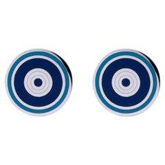 Jona Sterling Silver Blue and White Enamel Cufflinks