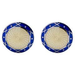 Jona Sterling Silver Blue and Yellow Enamel Cufflinks