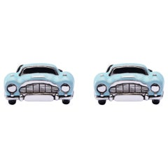 Jona Sterling Silver Blue Enamel Classic Convertible Car Cufflinks