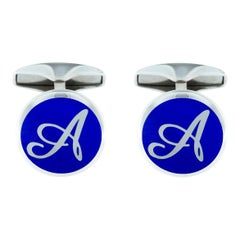 Jona Sterling Silver Blue Enamel Custom Made Initial Cufflinks