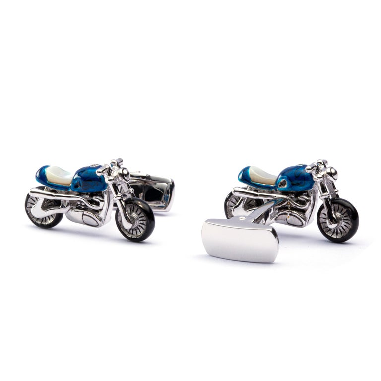 Jona Sterling Silver Blue Enamel Mother of Pearl Motorcycle Cufflinks In New Condition For Sale In Torino, IT