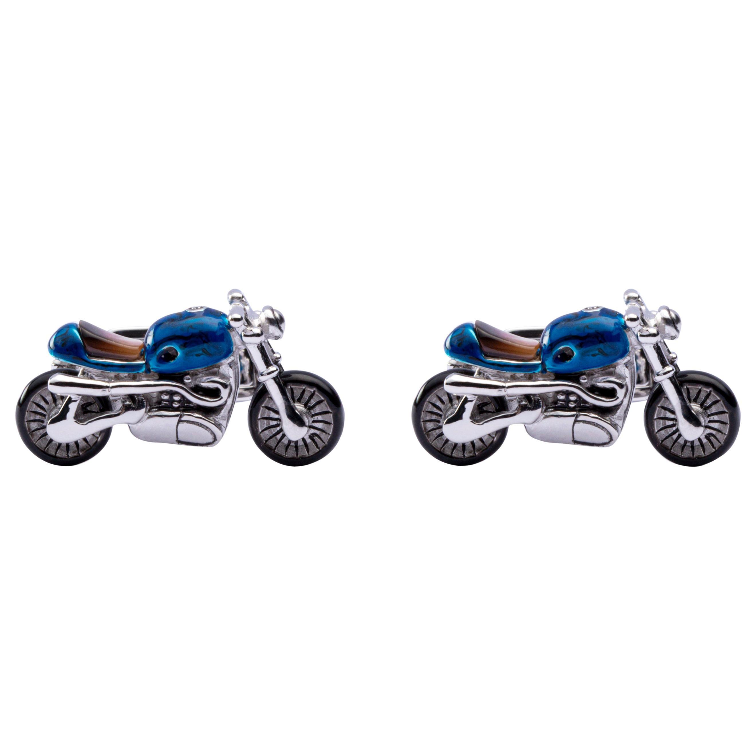 Alex Jona Sterling Silver Blue Enamel Motorcycle Cufflinks