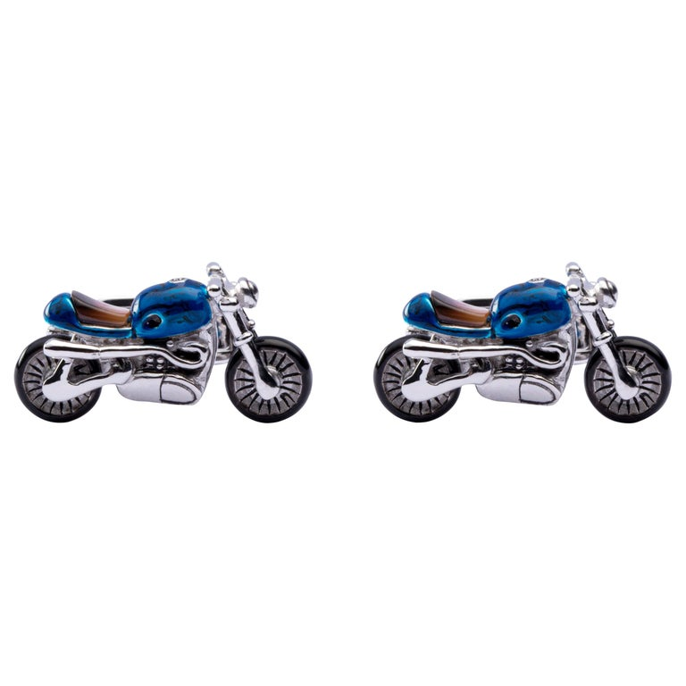 Jona Sterling Silver Blue Enamel Mother of Pearl Motorcycle Cufflinks For Sale
