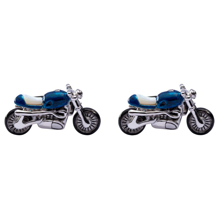 Jona Sterling Silver Blue Enamel Mother of Pearl Motorcycle Cufflinks For Sale