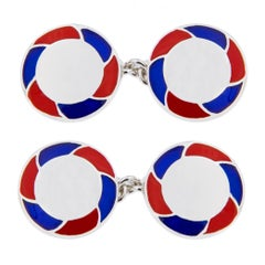 Jona Sterling Silver Blue Red Enamel Cufflinks