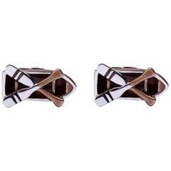 Jona Sterling Silver Brown Enamel Rowboat Cufflinks