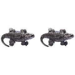 Jona Sterling Silver Crocodile Black Rhodium Cufflinks