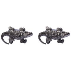 Jona Sterling Silver Crocodile Cufflinks