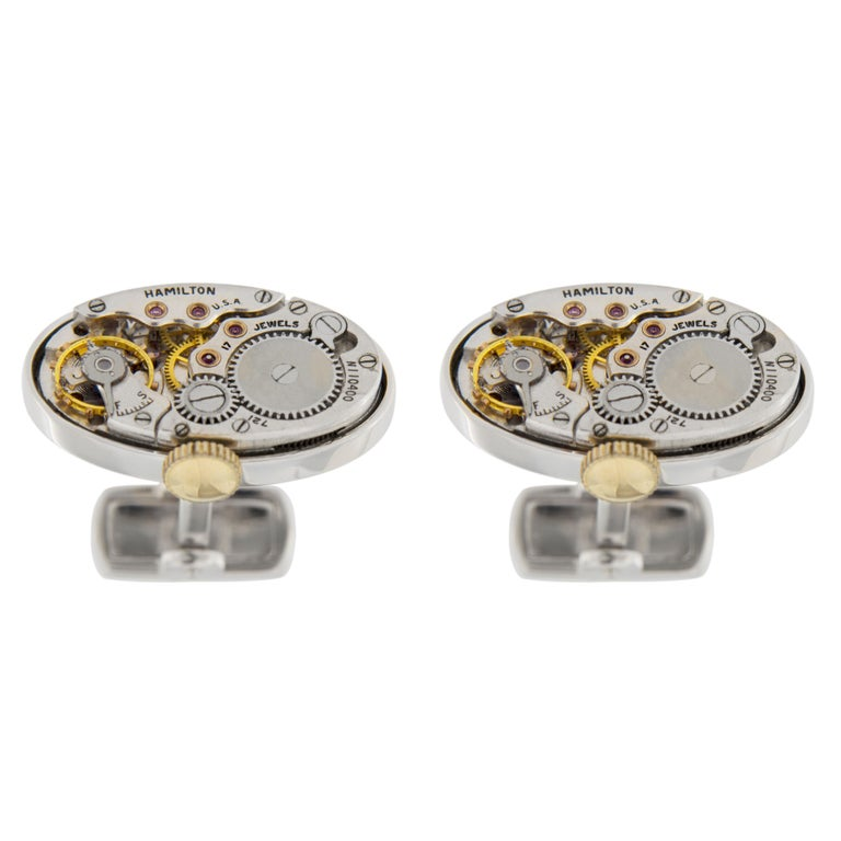 Jona Sterling Silver Cufflinks with Vintage Hamilton Watch Movement For Sale 1
