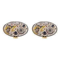 Jona Sterling Silver Cufflinks with Vintage Hamilton Watch Movement