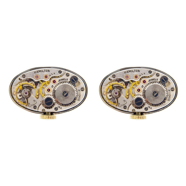 Jona Sterling Silver Cufflinks with Vintage Hamilton Watch Movement For Sale