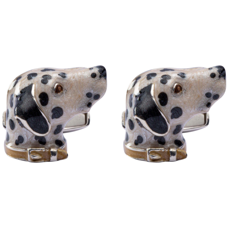 Jona Sterling Silver Dalmatian Dog Cufflinks with Enamel