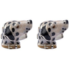 Jona Sterling Silver Dalmatian Dog Cufflinks with Enamel
