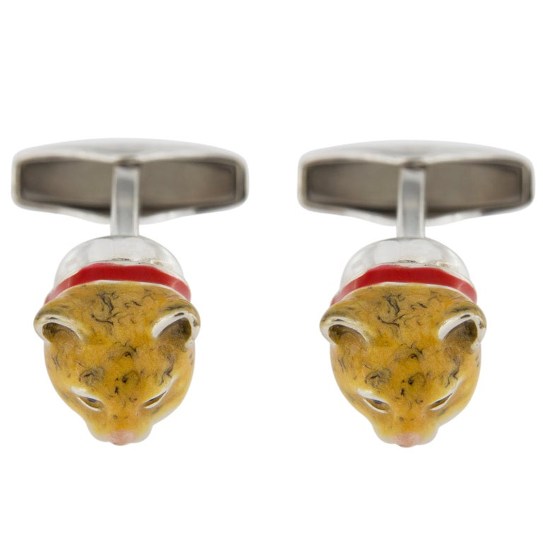 Jona Sterling Silver Enamel Cat Cufflinks In New Condition For Sale In Torino, IT