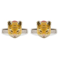 Jona Sterling Silver Enamel Cat Cufflinks