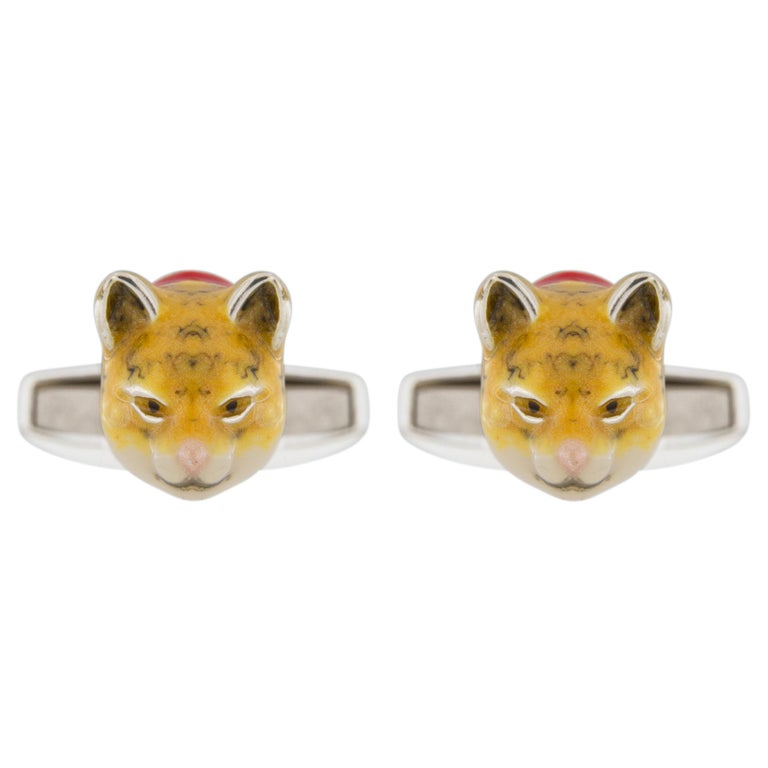Jona Sterling Silver Enamel Cat Cufflinks For Sale