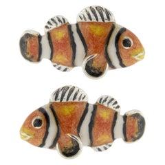 Jona Sterling Silver Enamel Clownfish Cufflinks