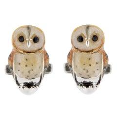 Jona Sterling Silver Enamel Owl Cufflinks