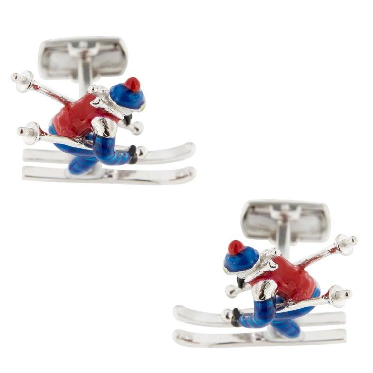 Jona Sterling Silver Enamel Skier Cufflinks In New Condition For Sale In Torino, IT