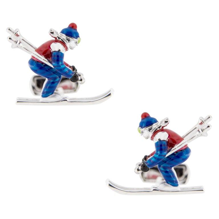 Men's Jona Sterling Silver Enamel Skier Cufflinks For Sale