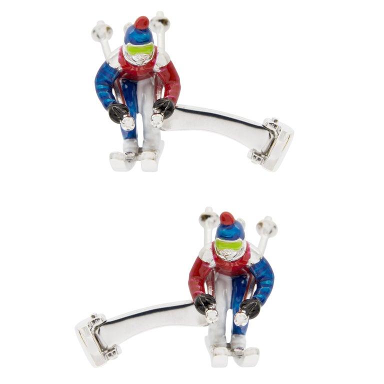Jona Sterling Silver Enamel Skier Cufflinks For Sale 1