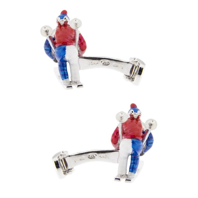 Jona Sterling Silver Enamel Skier Cufflinks For Sale 2