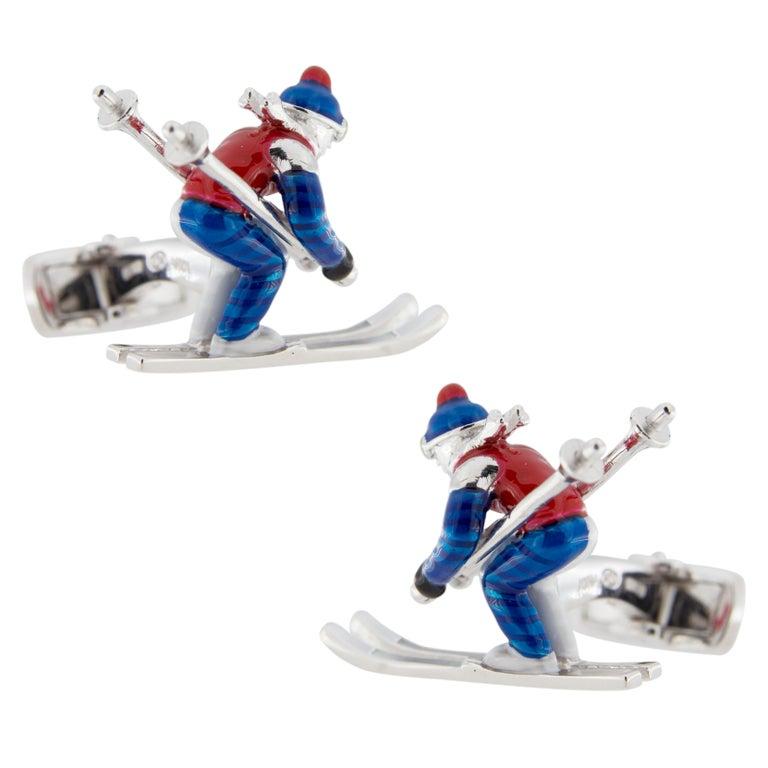 Jona Sterling Silver Enamel Skier Cufflinks For Sale 4