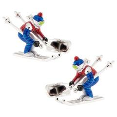 Jona Sterling Silver Enamel Skier Cufflinks