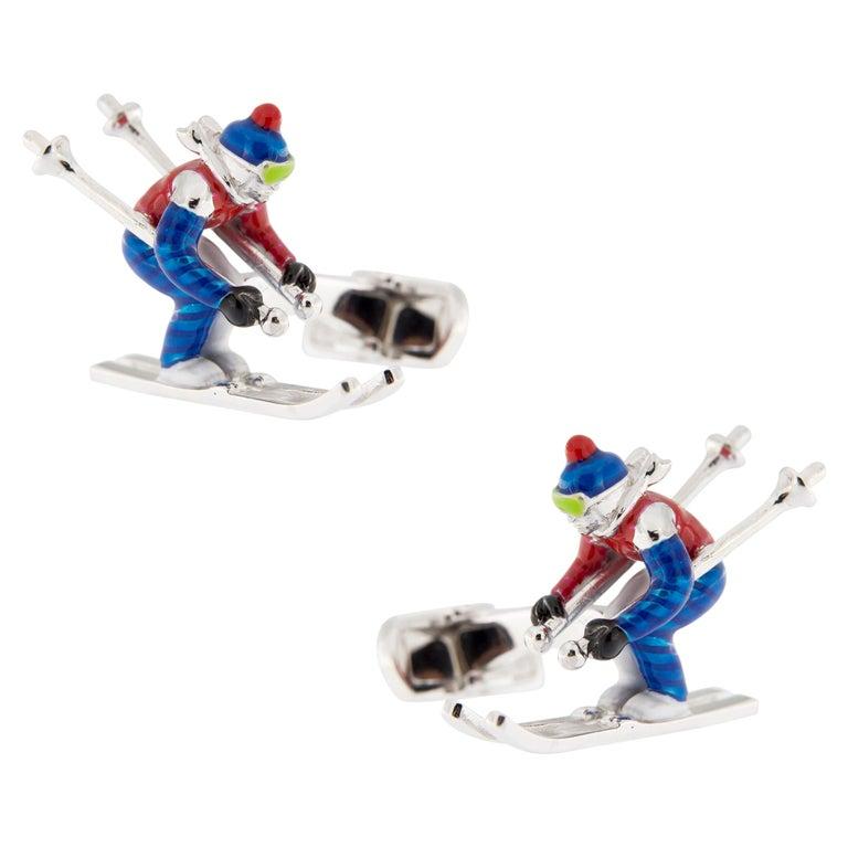 Jona Sterling Silver Enamel Skier Cufflinks For Sale