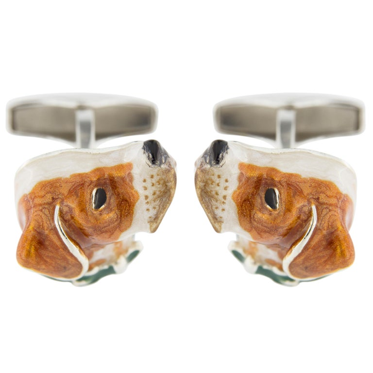 Jona Sterling Silver English Pointer Dog Cufflinks with Enamel In New Condition For Sale In Torino, IT